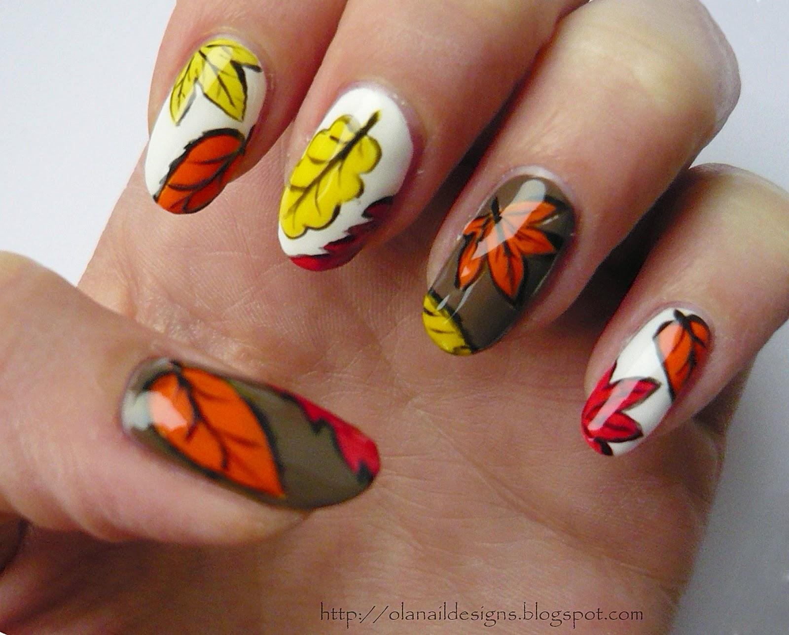 paznokcie - jesienne listki