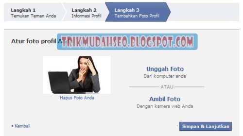 masukkan foto profil facebook anda