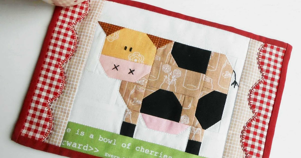 The Patchsmith: Patchwork Cow Mug Rug and Daisy Cow Blocks : cow quilt block - Adamdwight.com