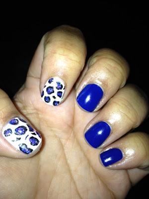 Cheetah Nail Art Blue