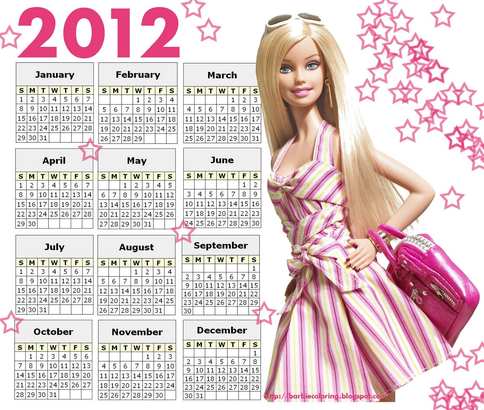 Barbie Blank Calendar : Year calendar printable