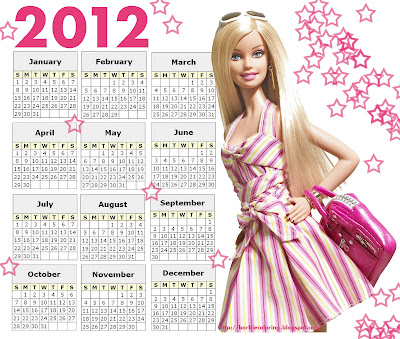 BARBIE 2012 CALENDAR PRINTABLE
