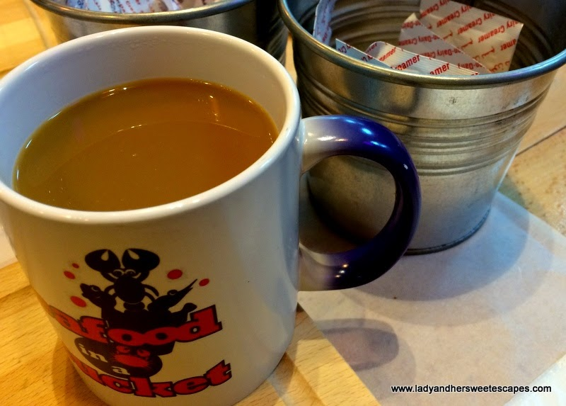 brewed coffee in Seafood in a Bucket's magic mug