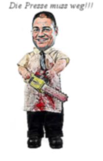 Karikatur: Philipp Berger kämpft mit allen Mitteln gegen Kritik an der Euroweb!