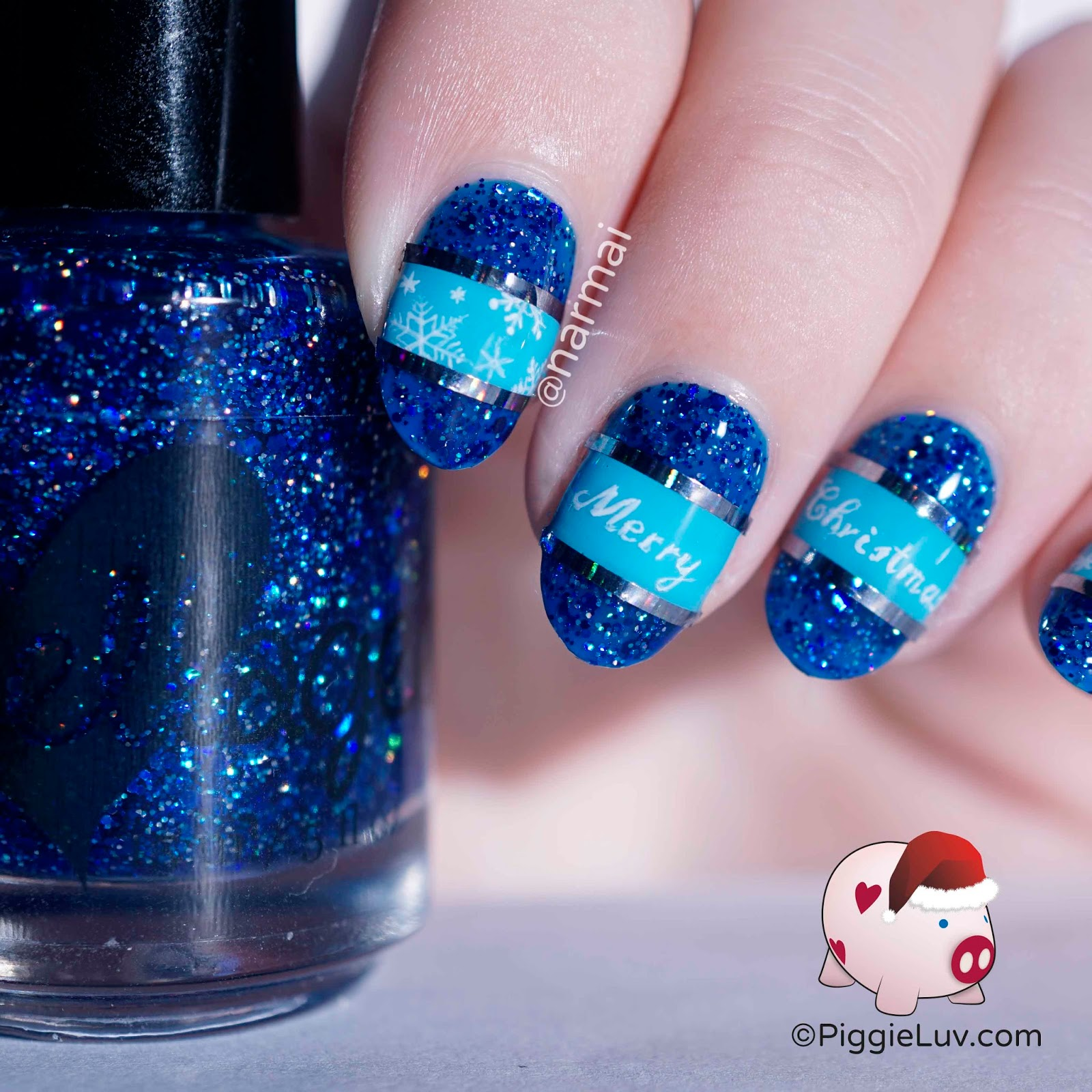 piggieluv freehand blue christmas nail art - Blue Christmas Nails