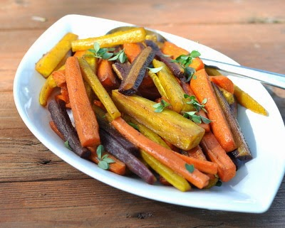 Cumin Carrot Fries, gorgeous roasted carrots with a touch of cumin ~ Vegan, gluten-free, low-cal, Weight Watchers PointsPlus 3 ~ KitchenParade.com