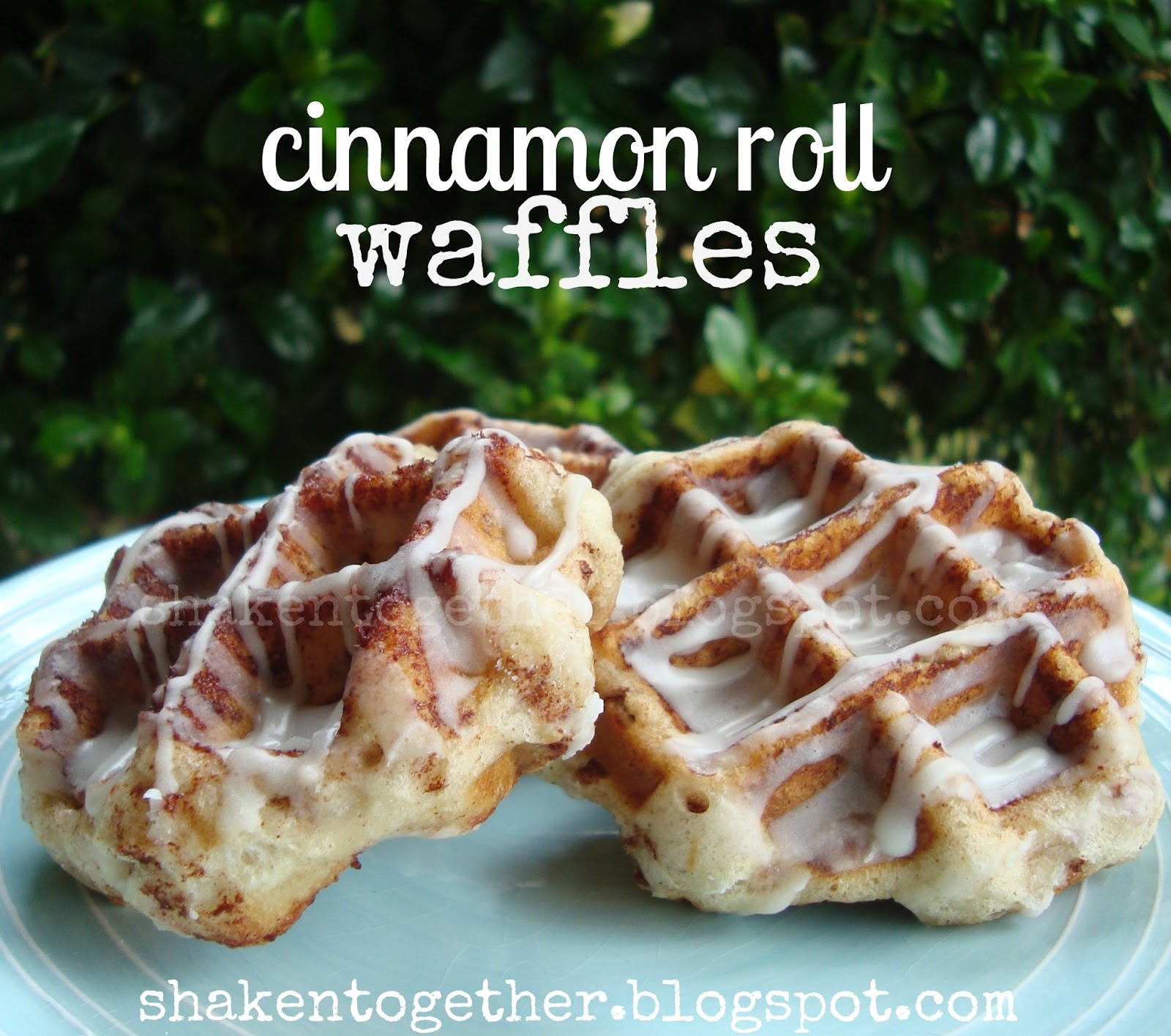 {taste this} cinnamon roll waffles at shaken together