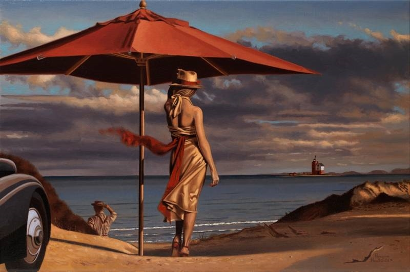 D.W.C. Woman & hat & car - Artist Peregrine Heathcote