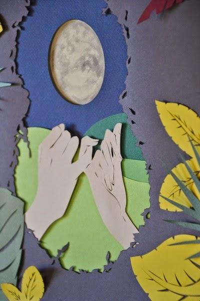 illustrazione paper cut realizzata a mano