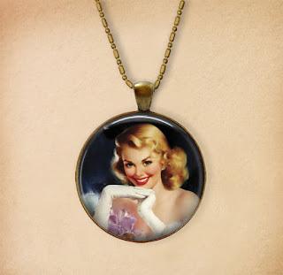 Digital Photo template for pendant on vintage background