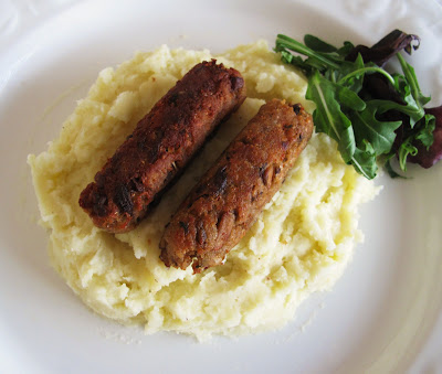 Vegetarian Bangers and Mash with Onion Gravy