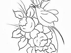 desenho de rosas e passaro para pintar