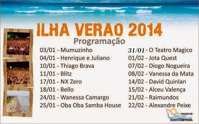Programação Ilha Verão 2014 na Ilha Comprida