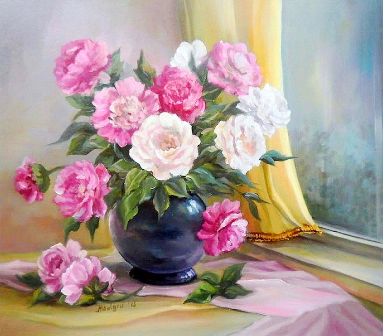 Cuadros modernos pinturas y dibujos jarrones y flores al - Jarrones de cristal con flores ...