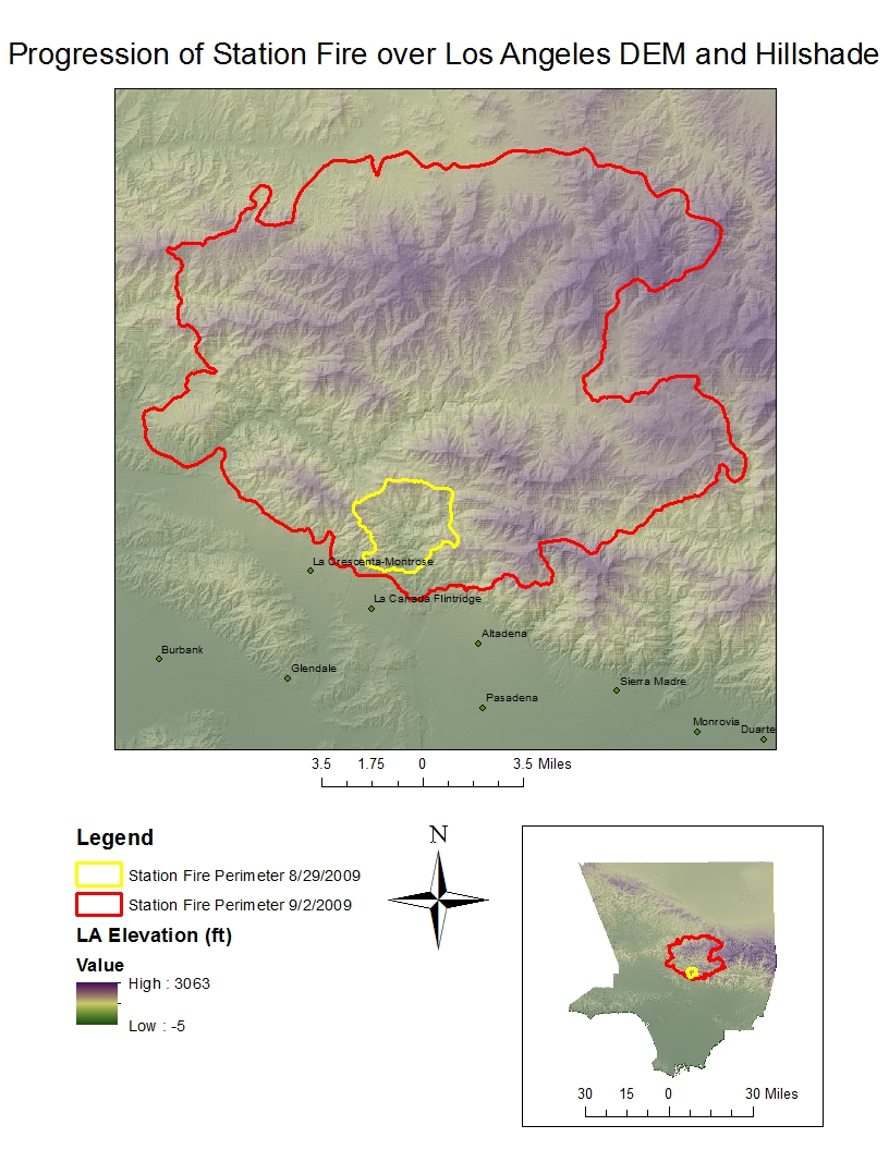 reference map of the station fire with elevation and hillshade