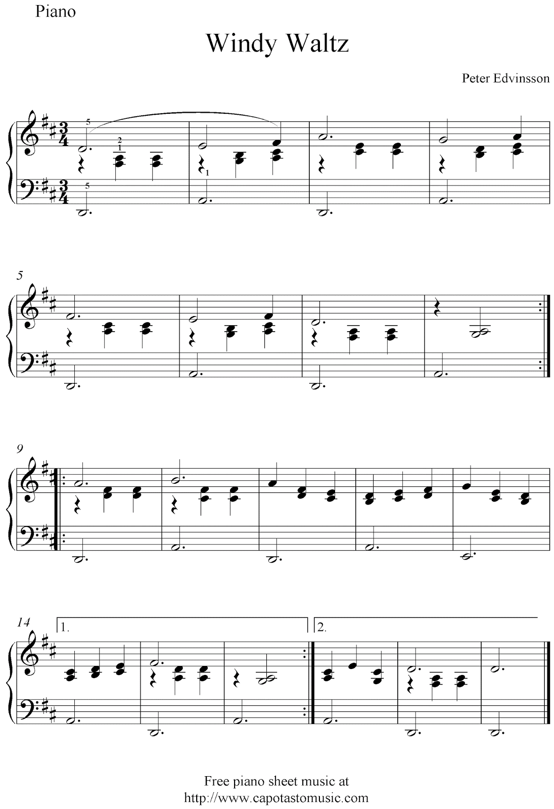 Free Easy Piano Sheet Music for Beginners