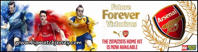 Banner Walpapper Arsenal Jersey Home Away Third Puma Official 2014 - 2015 Warna Jersey Merah Kuning Biru Kandang Tandang