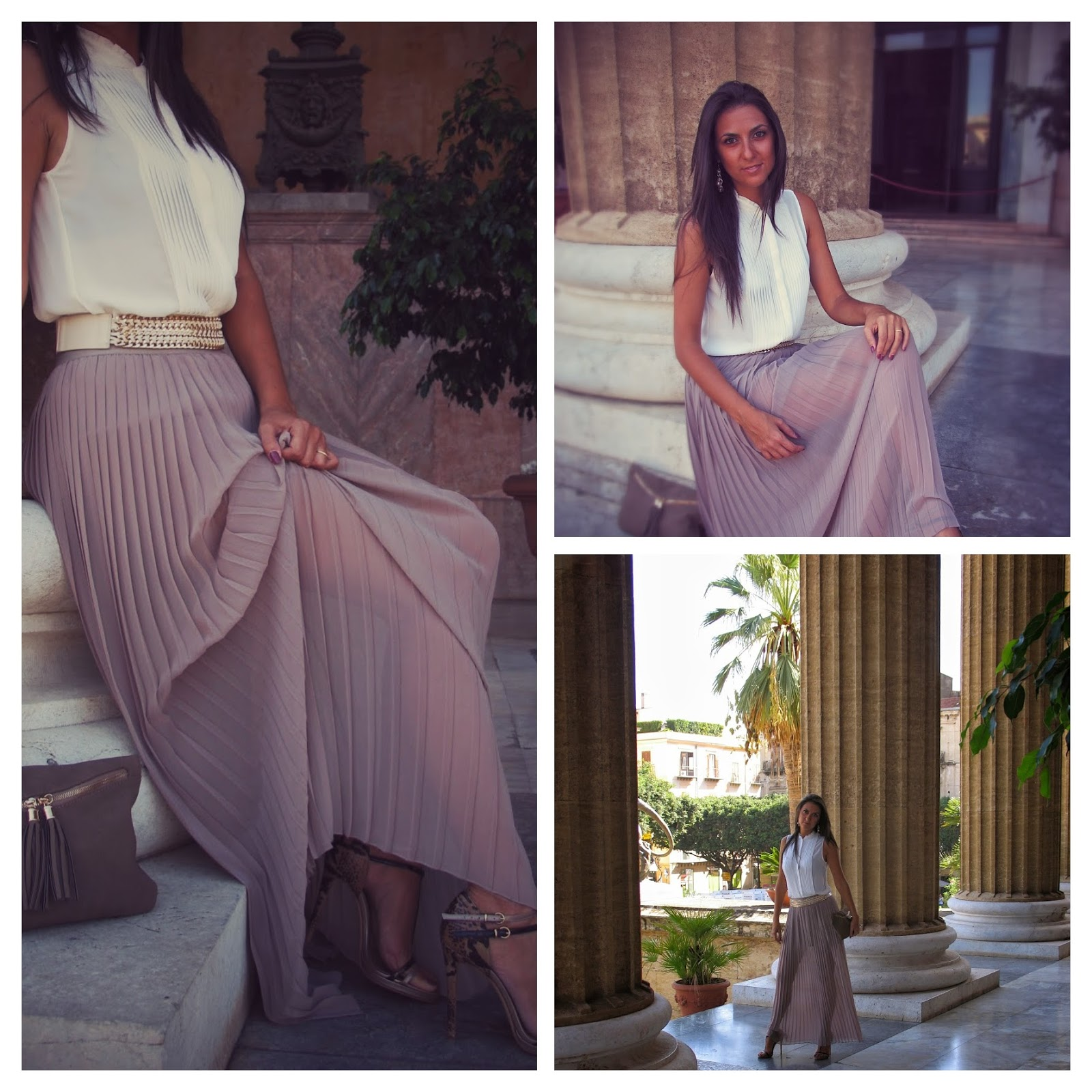#whitesilkshirt, #sicilia, #look, #long, #pleatedskirt