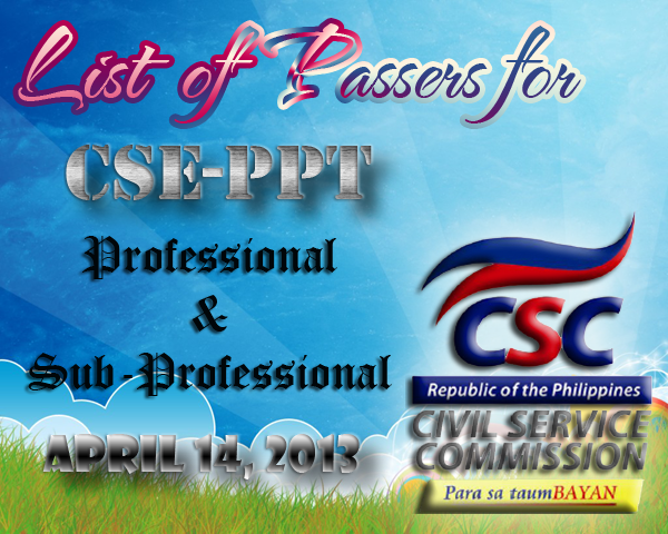 List of Passers for NCR CSE-PPT April 14, 2013
