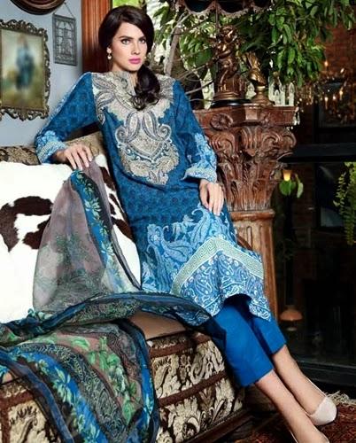 gul ahmed winter embroidered chiffon 2014
