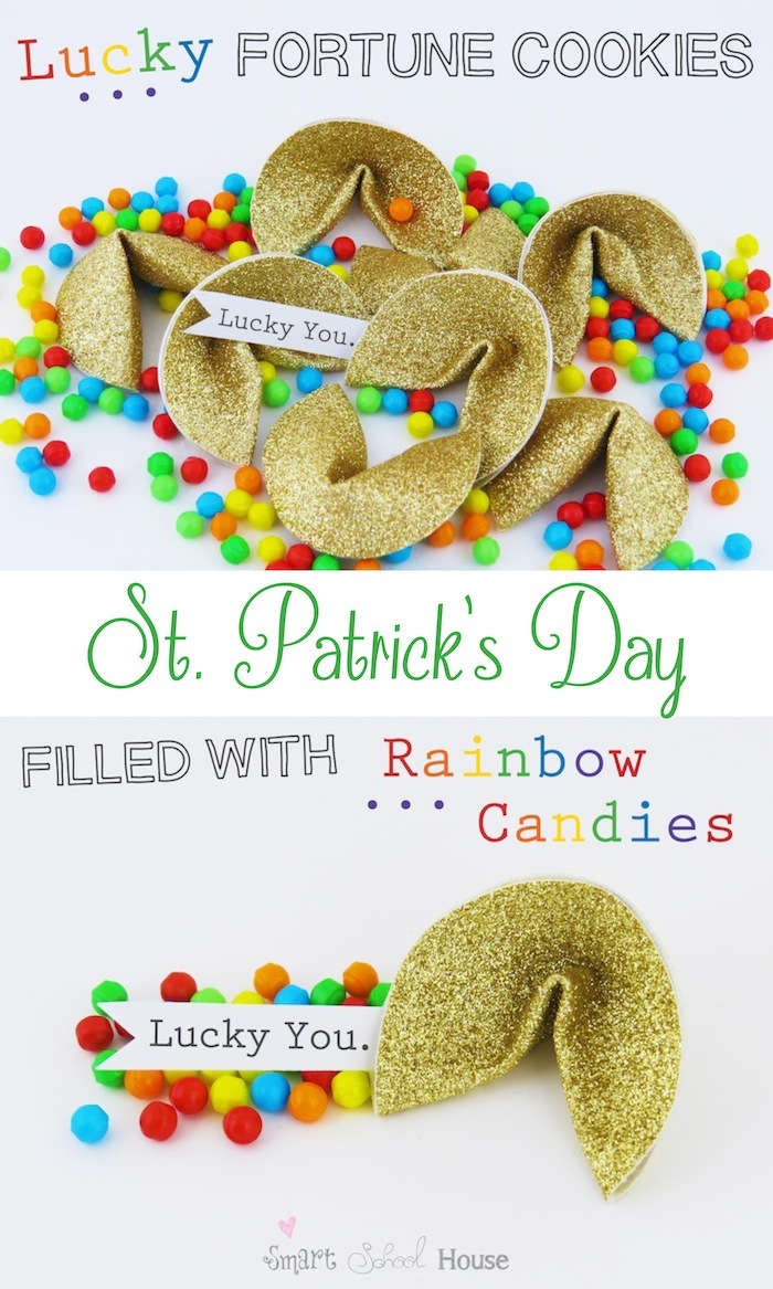 Lucky Golden Fortune Cookies filled with rainbow candies #stpatricksday #rainbow www.smartschoolhouse.com