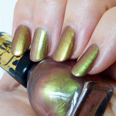 Miss Sporty 010 Beetle Wings Vs Rimmel Gold Save The Queen Nail Polish Swatch