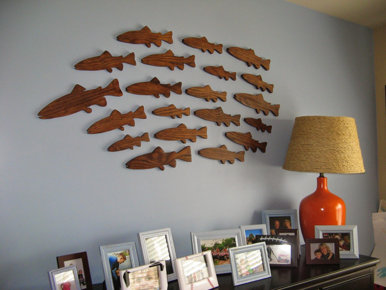 School of Fish - Stained Wood (Blue Painted Wall)