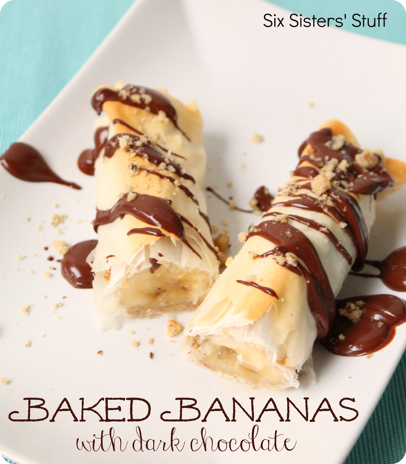 Baked Bananas with Dark Chocolate Recipe | Six Sisters' Stuff
