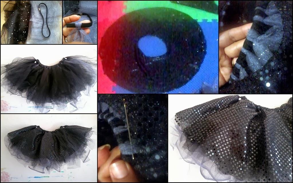 Para hacer esta falda, como era para una niña pequeña utilice una liga para el cabello, de esas que se usan como diadema elastica y ya vienen en varios
