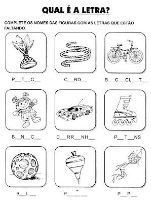 Atividades primeiro ano - Atividades De Alfabetização - Complete as palavras