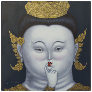 Shy Maiden (after Botero) - Thai painter Jirapat