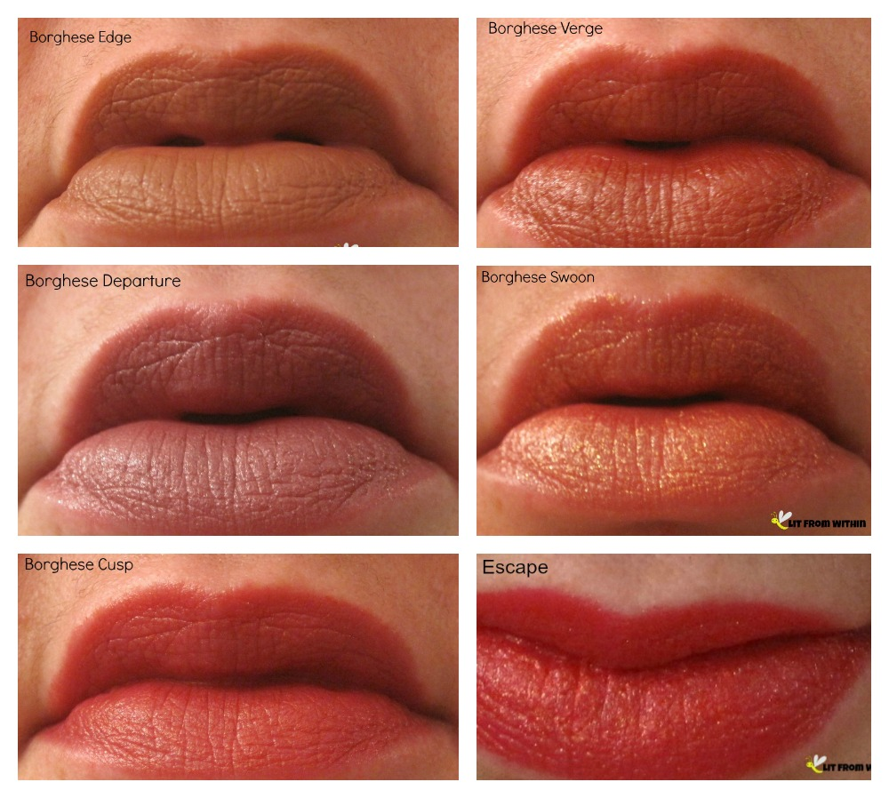 Borghese Eclissare Color Eclipse Colorstruck lipstick lip swatches - Edge, Departure, Verge, Swoon, Escape, Cusp