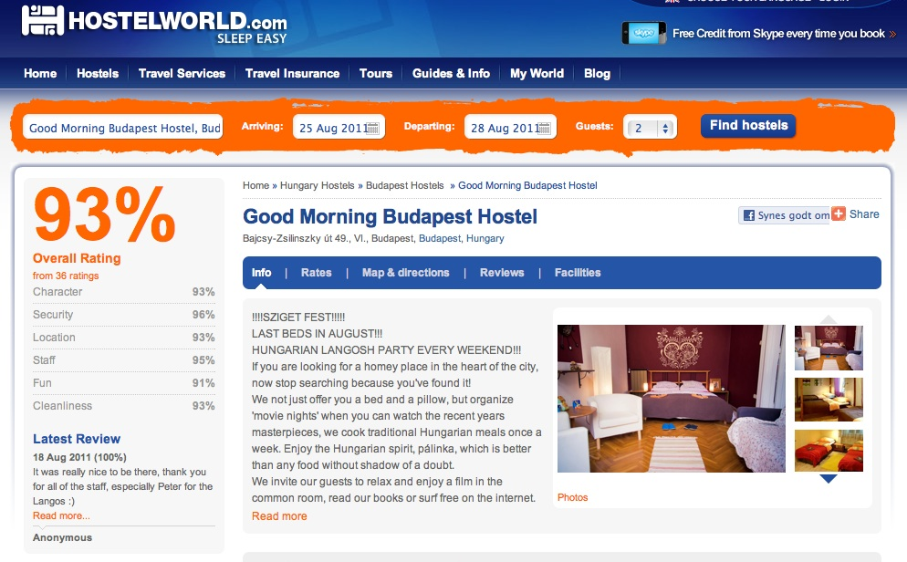 I Decided To Just Go To Budapest And Stay In A Hostel While I Viewed Some  Apartments, So I Had A Look For Hostels On Www.hostelworld.com (which Is  Great Btw ...