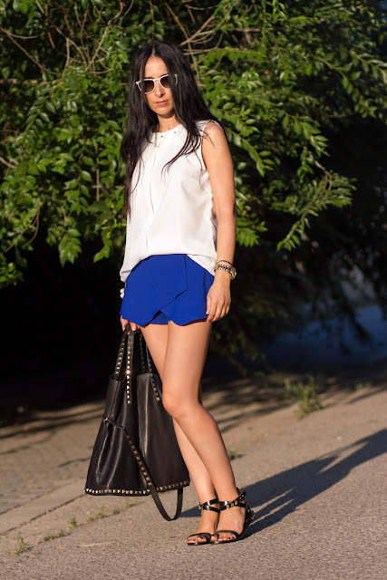 KLEIN BLUE SKORTS AND STUDDED BLOUSE