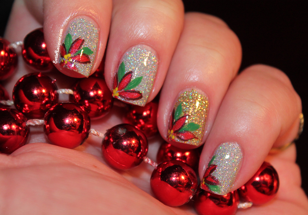 Poinsettia nail art