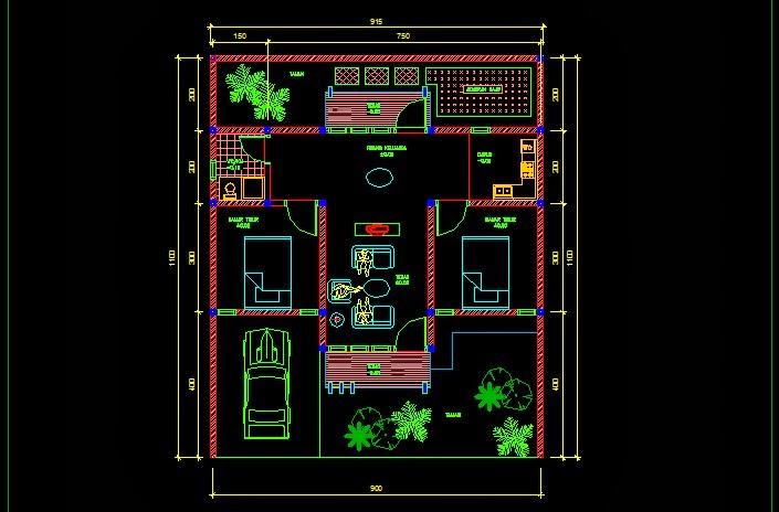 Denah Rumah Tinggal Dwg - Gambar kerja rumah type jadhomes.com