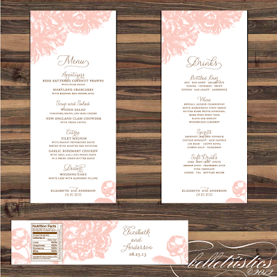 pink peony sweet romantic printable wedding print your own wedding reception menu design