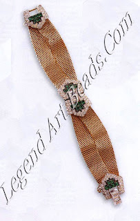 """Bracelet by Marcel Boucher, signed """"Boucher"""". In a very strong 1940s """"Tailored/Retro"""" style, this bracelet incorporates the commonly used and popular """"buckle"""" motif - rhodium-plated and set with faux sapphires and crystals. Joining these and making up the main part of the bracelet are two strands of flat, wide mesh chains, which was also a favourite look of the '4os. Mid-1940s. L150-175 ($255-300)"""