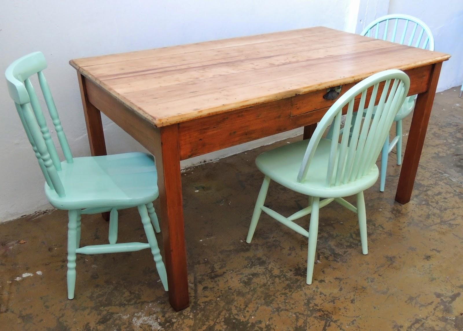 Antigua mesa de campo en madera natural hidrolaqueada - Mesas de campo ...