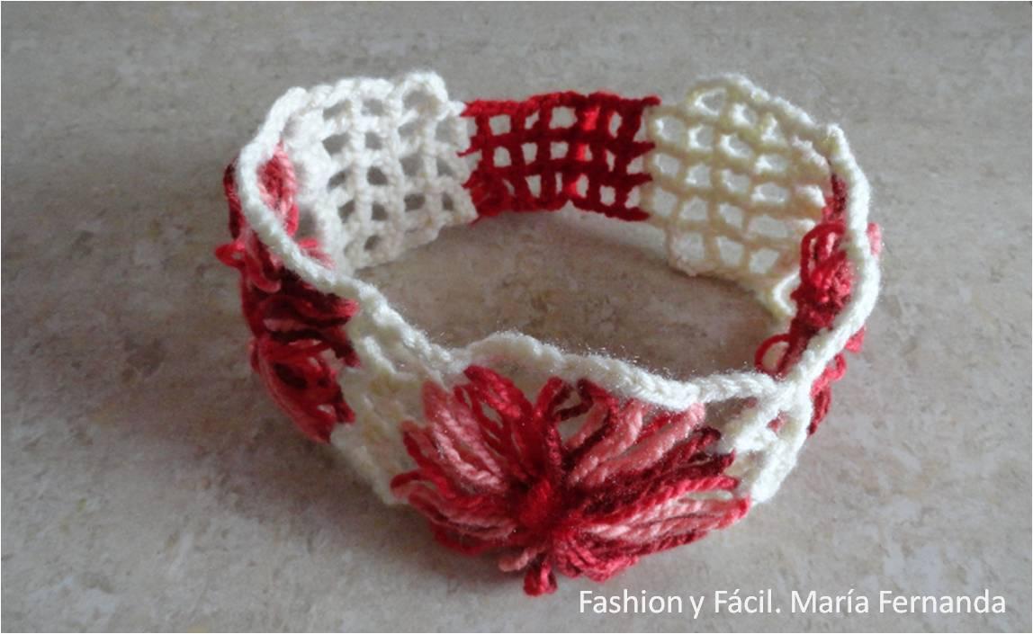 Fashion y Fácil : Una bandana con flores de telar redondo (A ...