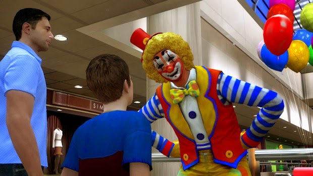 heavy rain shopping mall jason clown balloon