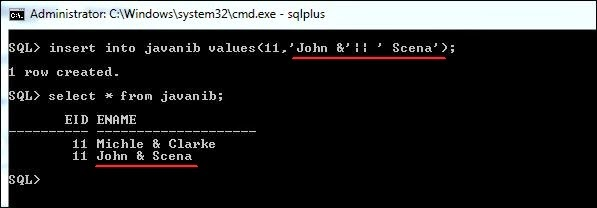 avoid substitution variable in oracle sql developer