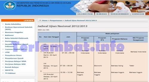 Jadwal Ujian UN Sma 2013