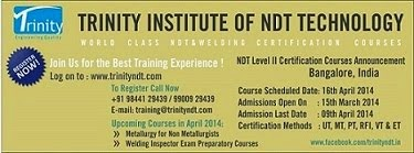 NDT Level II Training from 16 Apr 2014 at Bangalore, India - world class training click below Image