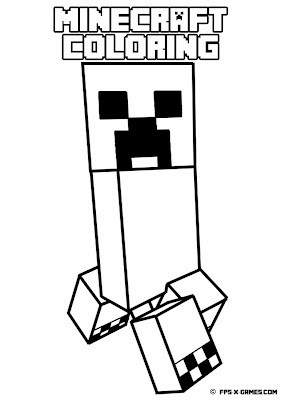 Printable Minecraft coloring - Creeper