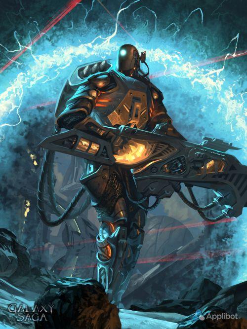 Anthony Wolff waart pinturas ilustrações digitais fantasia ficção Droid de guerra
