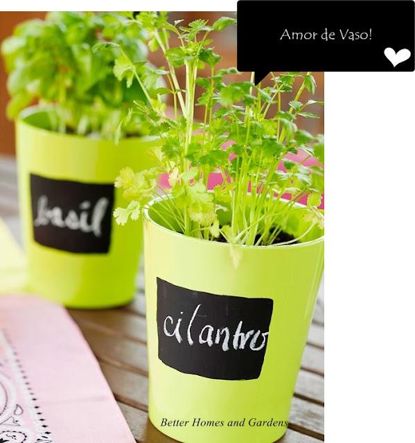 vaso com espaço para escrever o nome das plantas