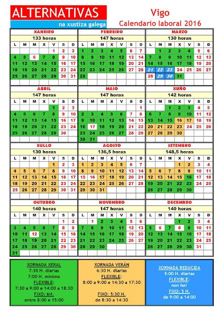 Vigo. Calendario laboral 2016