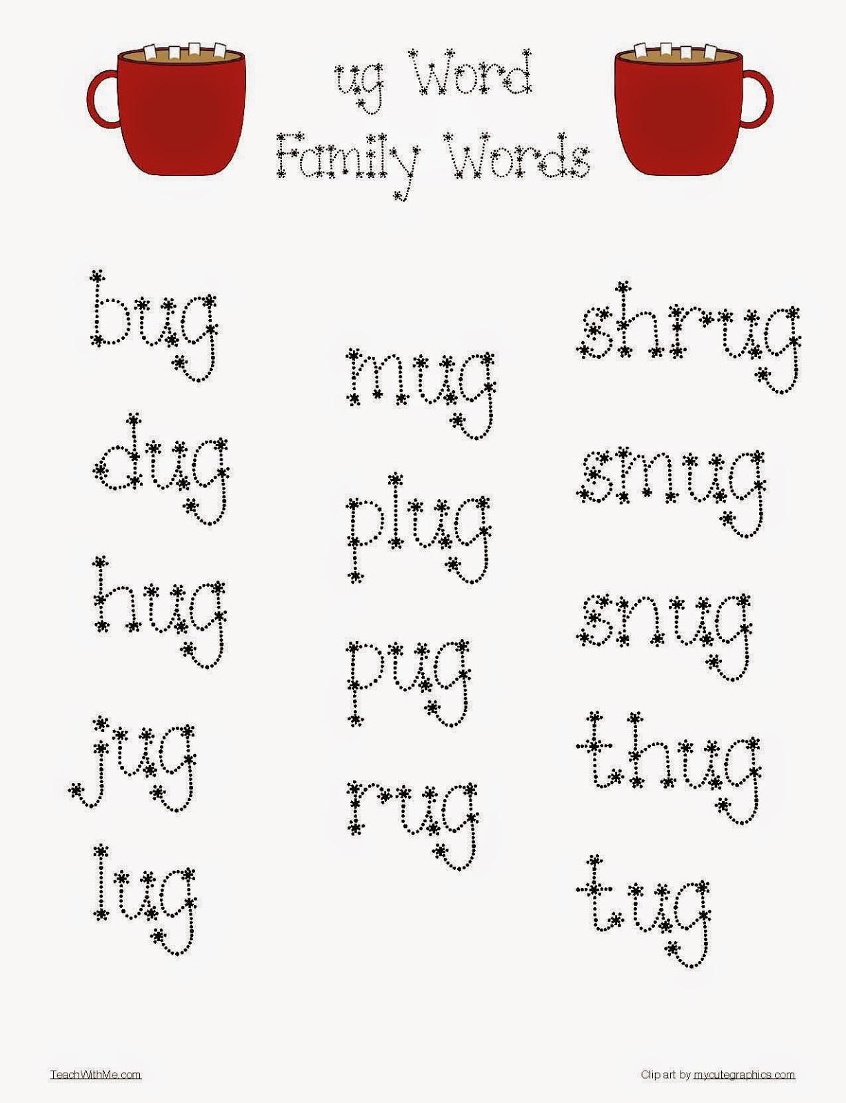 Classroom Freebies: UG Word Family Mug packet