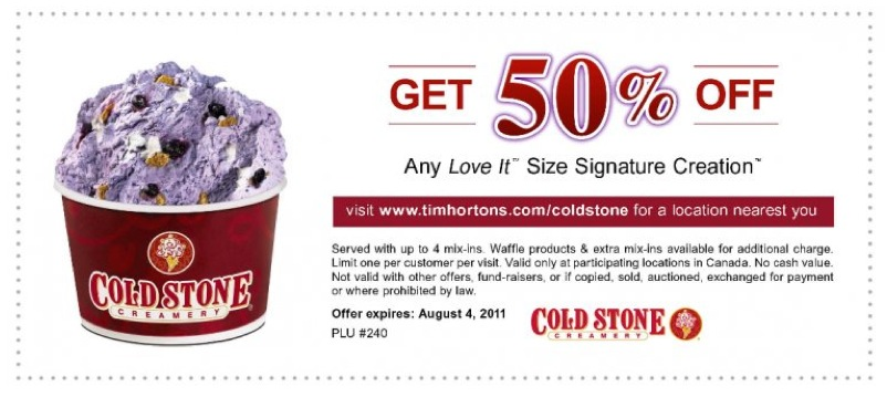 Cold Stone Creamery is offering buy one, get one free ice cream when you use this printable coupon. Choose from Like it (small), love it (regular), gotta have it (large) sizes. Find a location near you.